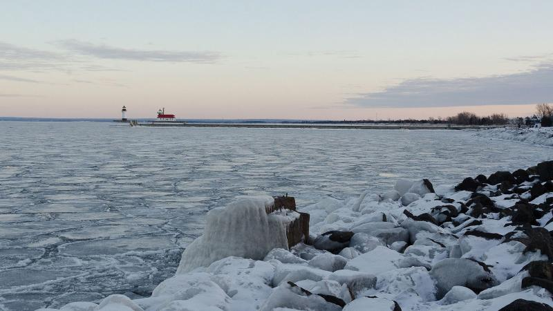 Lake Superior, winter, ice, Duluth Harbor