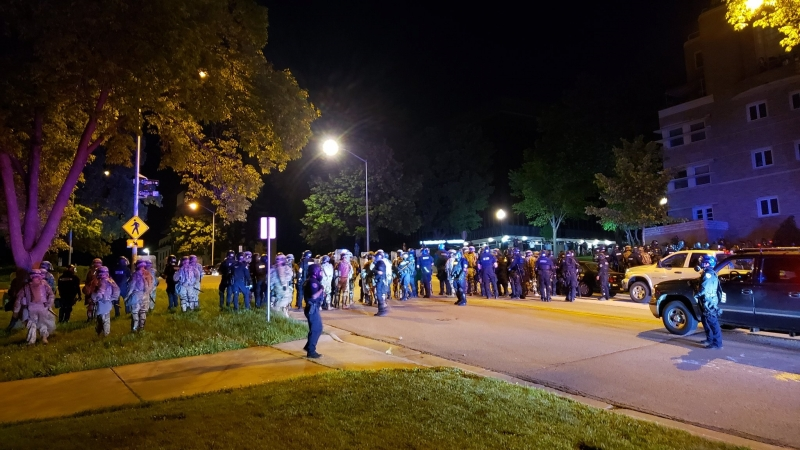 Madison police and Wisconsin National Guard troops respond to protests in Madison on May 31, 2020.