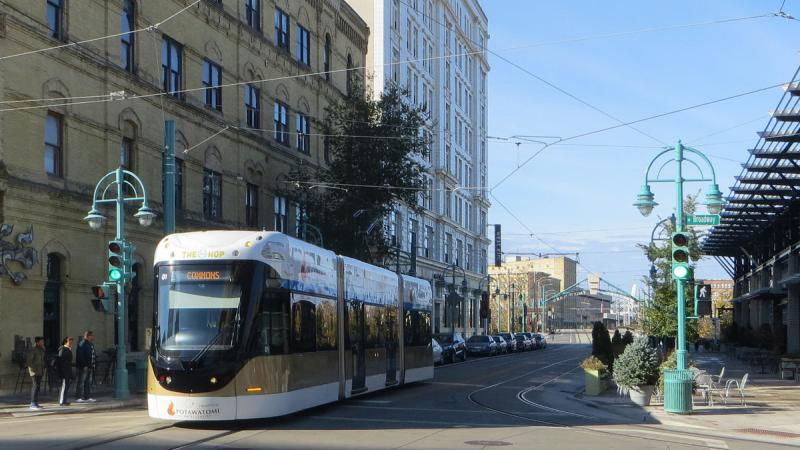 The Hop streetcar in downtown Milwaukee
