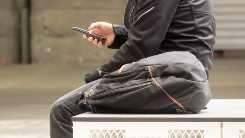 Man holding smartphone
