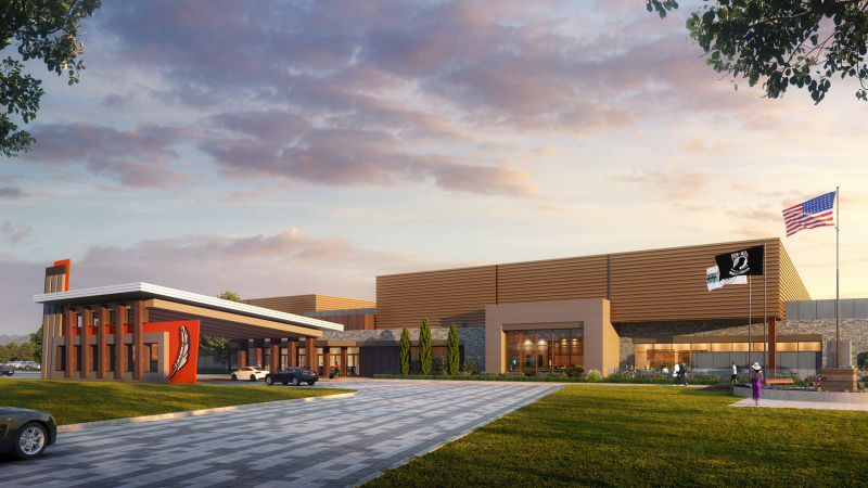An architectural rendering of a casino exterior