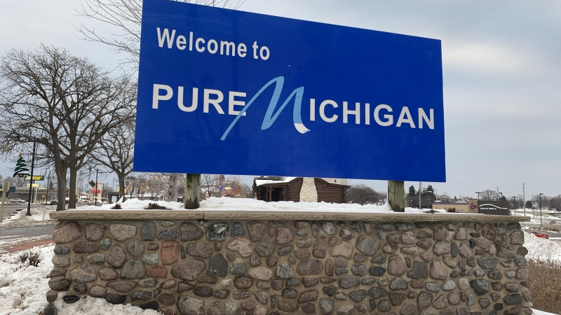"""""""Welcome to Pure Michigan"""" sign"""
