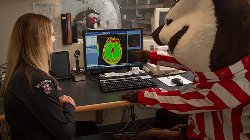 UW-Madison's Bucky Badger looks at health data