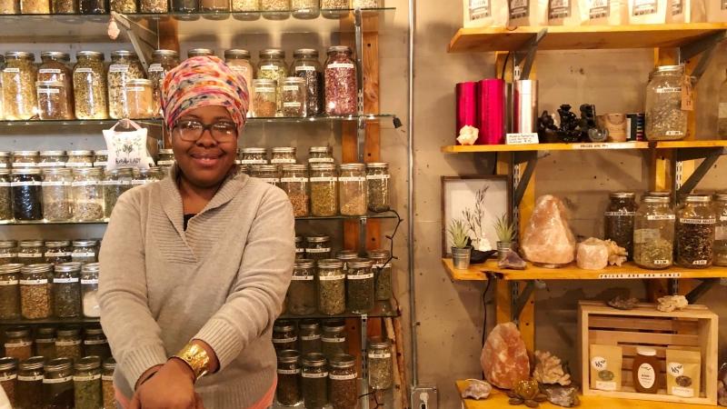 Angela Mallett at her story HoneyBee Sage Wellness located in Sherman Phoenix