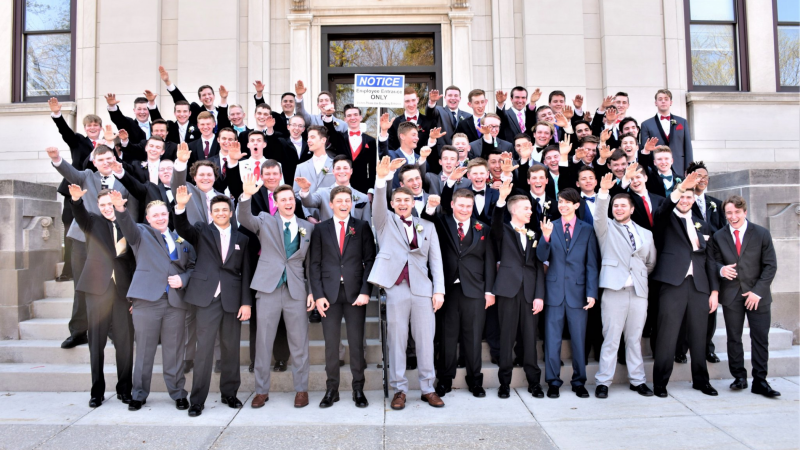 Group of Baraboo High School boys giving Nazi salute