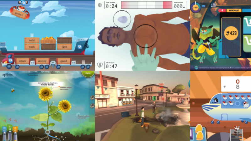 Screenshots of a few educational video games