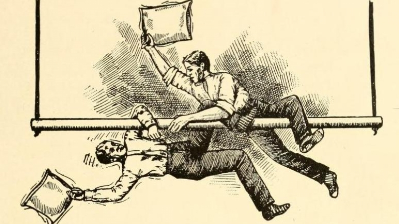 Drawing of men pillow fighting