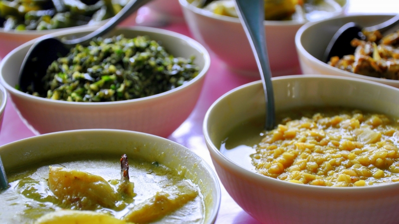 Food bowls in Sri Lanka.
