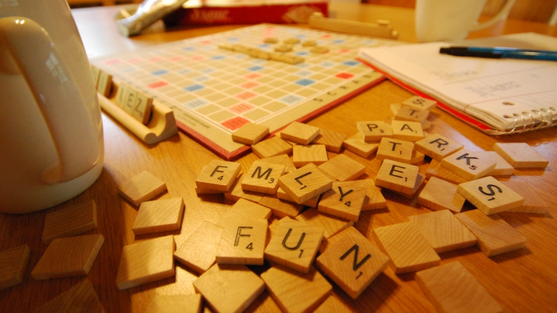 Scrabble squares on a table