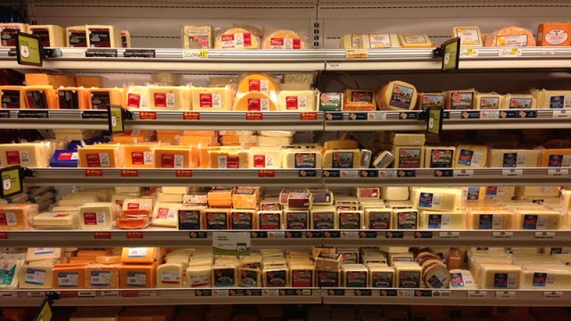 Cheese display in a grocery store