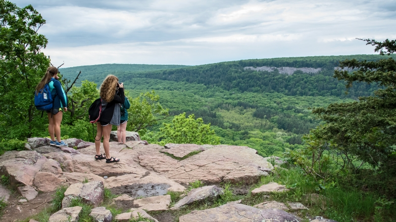 Three young hikers stop at a rocky overlook with nothing but trees in the distance.