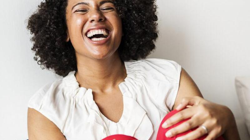 laughing, woman, African-American, Black, biracial