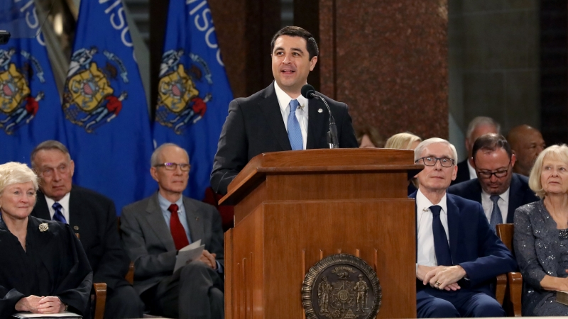 Attorney General Josh Kaul speaks at the inauguration ceremony at the Wisconsin State Capitol on Jan. 7, 2019.