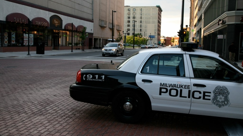 A police car in downtown Milwaukee