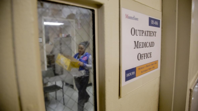 Medicaid employee in an office
