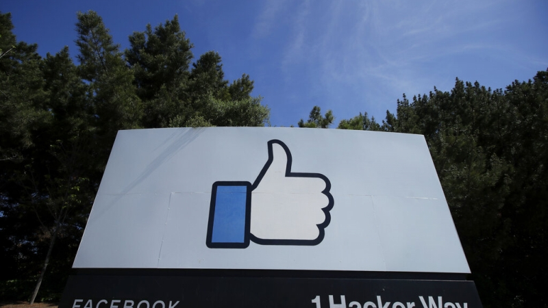 The thumbs up Like logo is shown on a sign at Facebook headquarters in Menlo Park, Calif.,