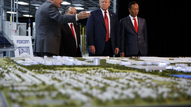 President Donald Trump takes a tour of Foxconn