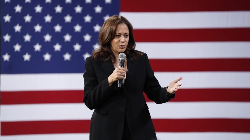 2020 Democratic presidential candidate Kamala Harris on stage.