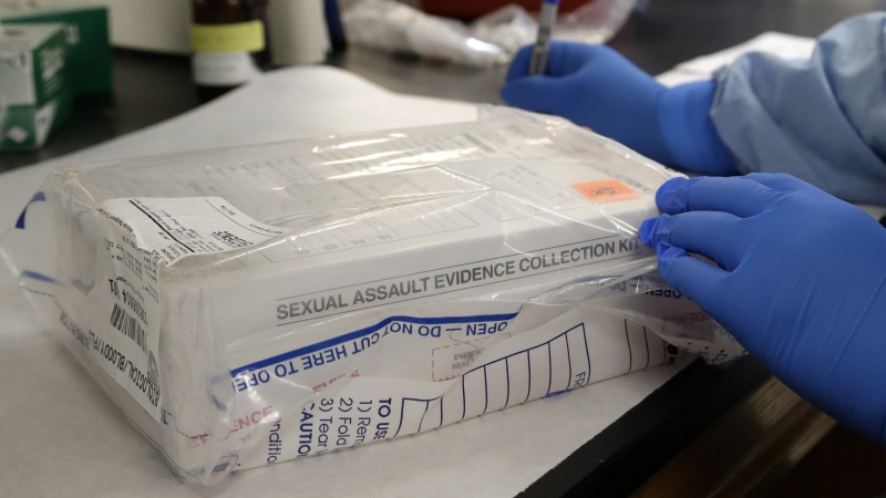 A sexual assault kit is logged in a lab