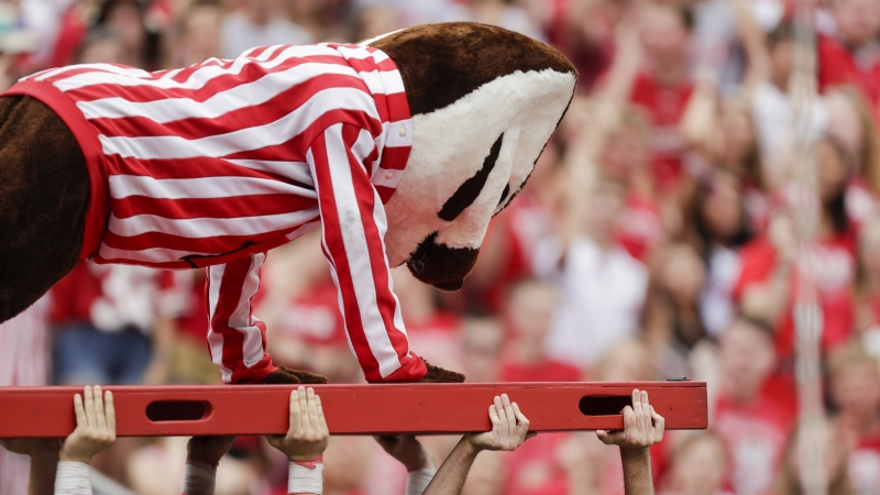 Bucky Badger does push ups