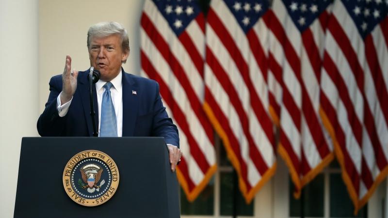 President Trump speaks in the White House Rose Garden