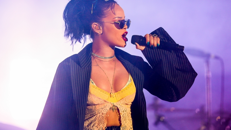 Singer Rihanna performing on stage