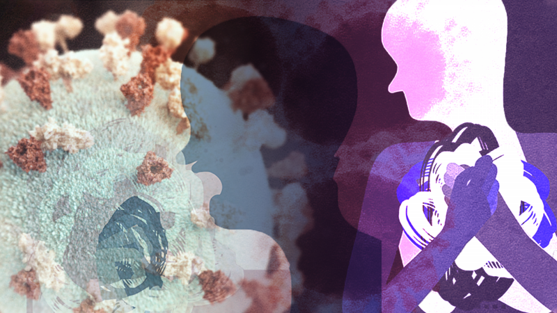 An abstract illustration featuring pastel colors, human figures, and a virus particle.
