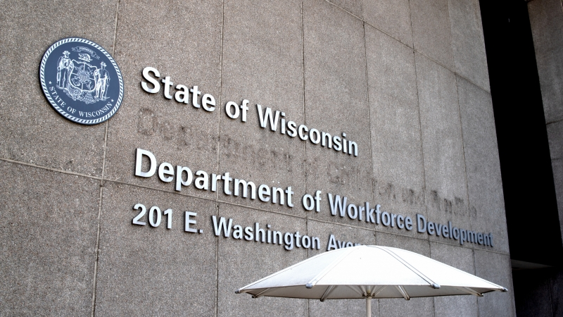 Outside the State of Wisconsin Department of Workforce Development building