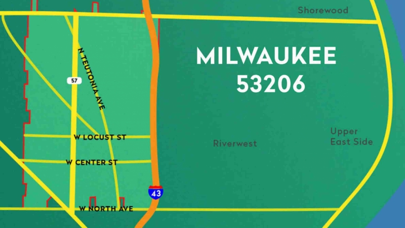 Map of Milwaukee's 53206 zip code
