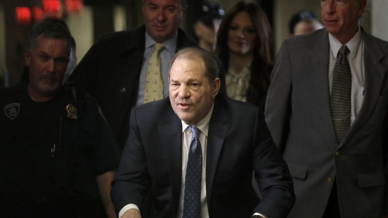 Harvey Weinstein arrives at a Manhattan courthouse for jury deliberations in his rape trial.
