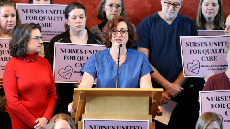an emergency department nurse, speaks as University of Wisconsin Hospitals and Clinics nurses announce a new union