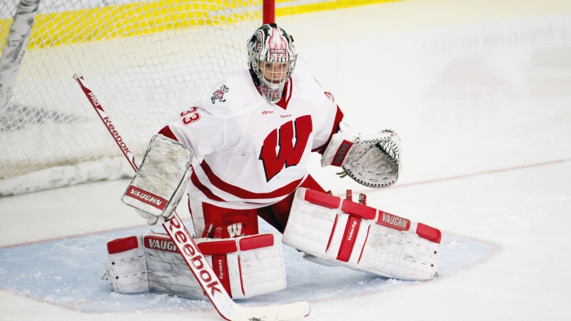 Alex Rigsby Cavallini playing goalie for UW-Madison