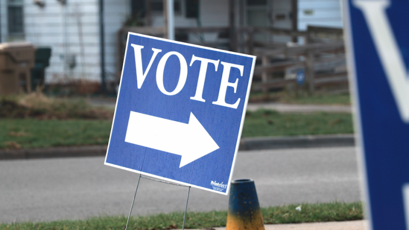 A voting sign outside a polling place