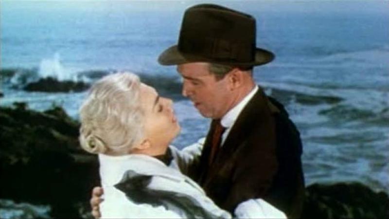 """Kim Novak and James Stewart in a screenshot from original movie trailer for Alfred Hitchcock's """"Vertigo"""""""