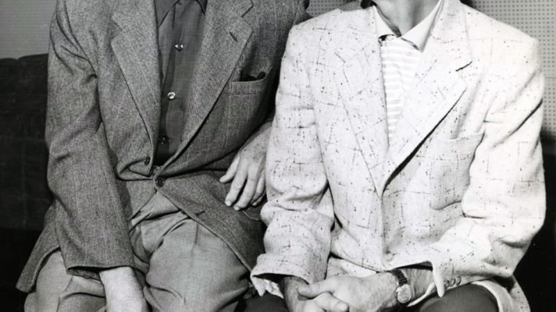 Jack Benny and Johnny Carson in 1955