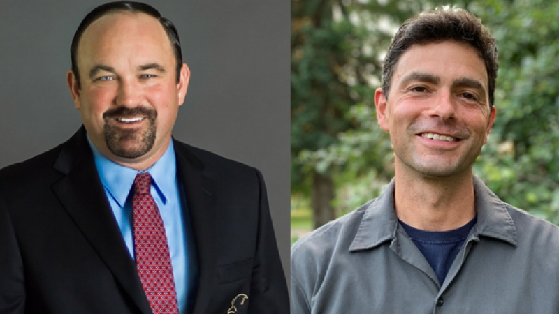 from left to right: 2020 candidates running for the 29th seat in the Wisconsin Sate Assembly Clint Moses, R-Menomonie,photo credit Justin Ellis, and John Calabrese, D-Menomonie,photo creditSimon Perrin.