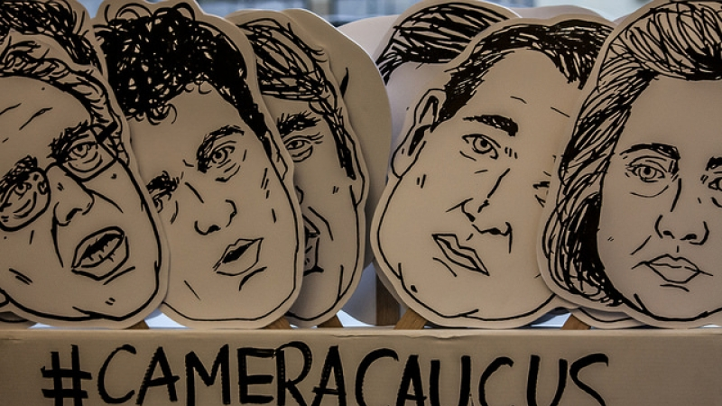 Photo of the candidates drawn before the Iowa Caucus.