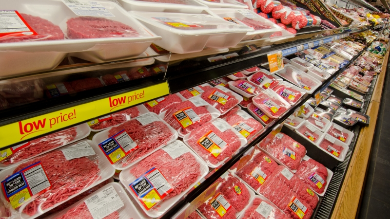 meat at a grocery store