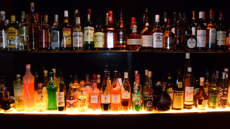 alcohol on bar