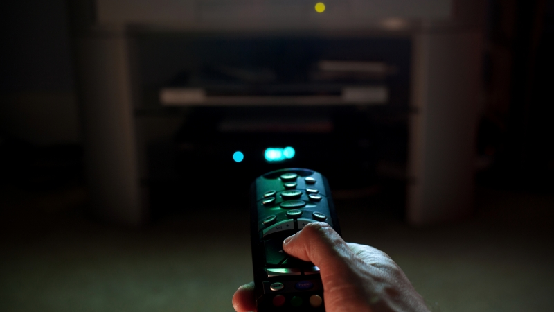 remote pointing at television