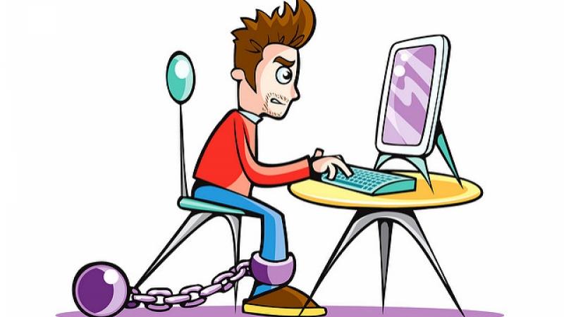 Angry Man on computer