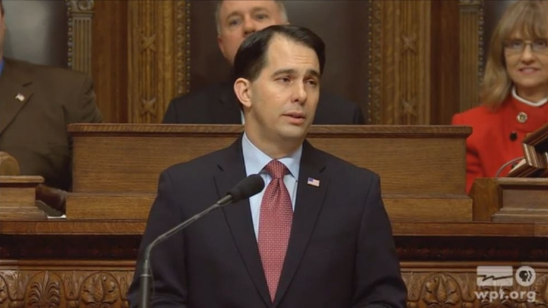 Gov. Scott Walker delivers his budget address on Feb. 3, 2015