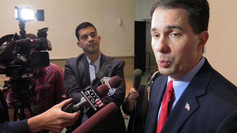 Scott Walker speaking to reporters
