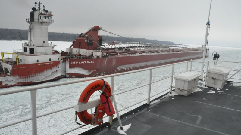 U.S. Coast Guard cutter Mackinaw, ice-breaking on the St. Mary's River