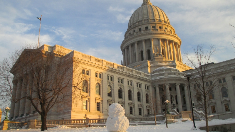 Wisconsin capitol building with snowman