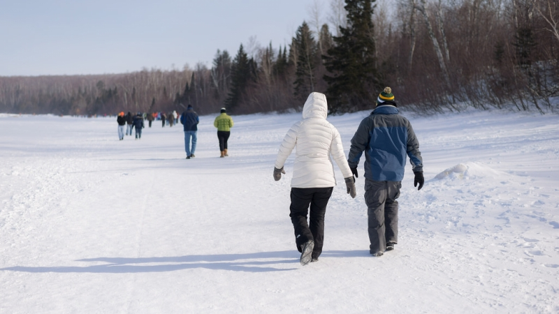 Tourists make the 1.5 mile trek to see the ice caves.