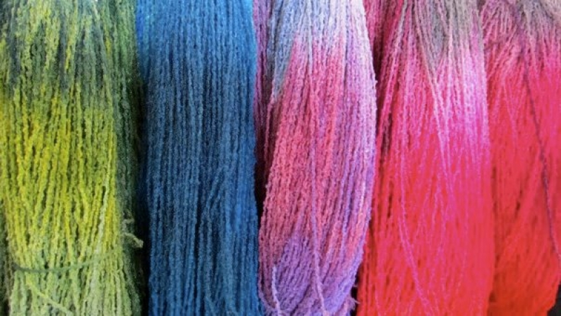 Colorful wool at the WI Sheep and Wool Festival, photo by Judith Siers-Poisson