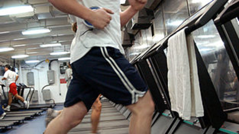 running on the treadmill, photo by US Navy
