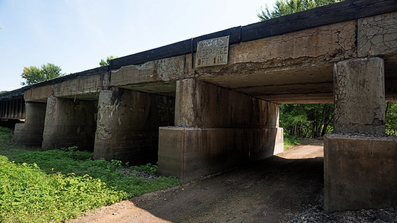 An example of a bridge in need of repair. (This bridge is being repaired this year.)