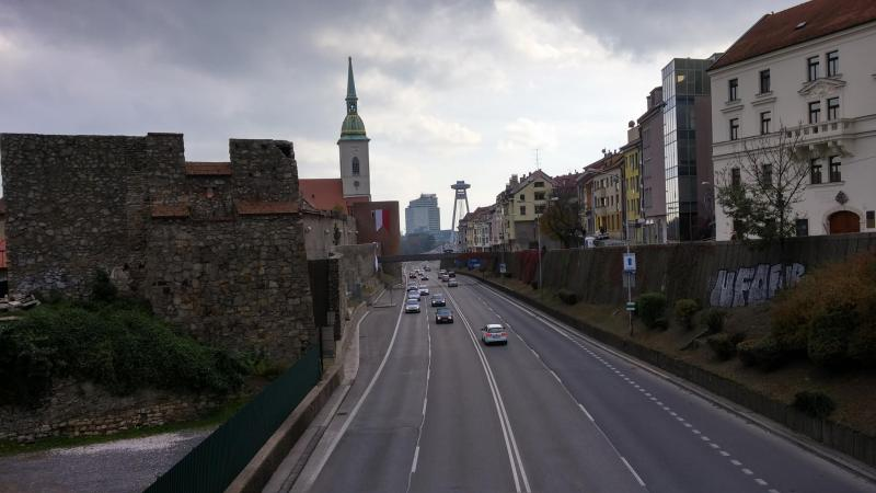 Photo of old and new buildings in Bratislava,Slovakia